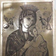 Arte: ICONO GRIEGO SOBRE METAL NUESTRA SEÑORA DEL PERPETUO SOCORRO. Lote 57935327