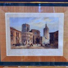 Arte: NICOLAS CHAPUY (1790-1858) LITOGRAFÍA ILUMINADA SIGLO XIX. VALENCIA VISTA CATEDRAL Y TORRE MIGUELETE. Lote 58062529