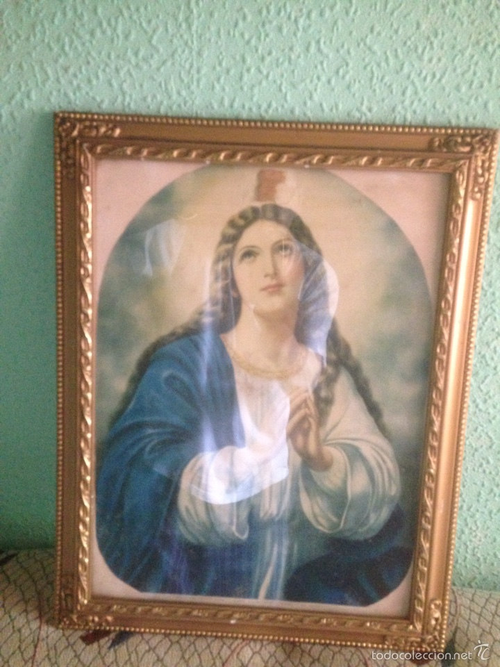CUADRO VIRGEN ORANDO, AÑOS 40 (Arte - Arte Religioso - Litografías)