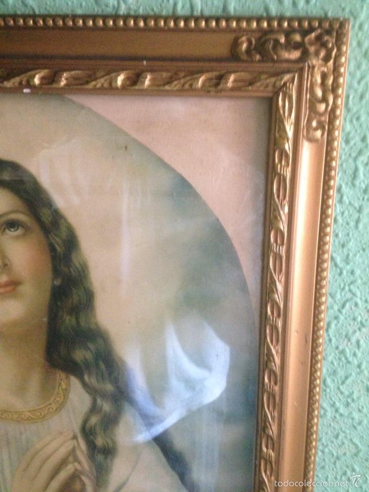 Arte: Cuadro Virgen orando, años 40 - Foto 2 - 58090978