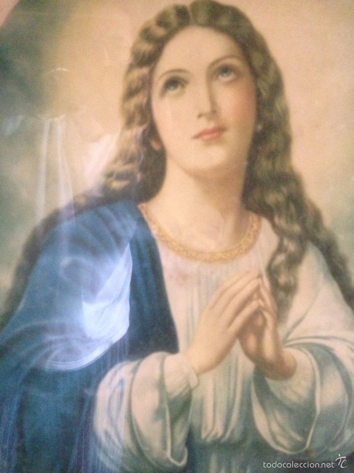 Arte: Cuadro Virgen orando, años 40 - Foto 7 - 58090978