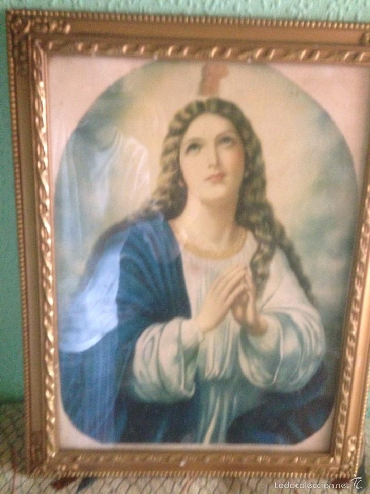 Arte: Cuadro Virgen orando, años 40 - Foto 8 - 58090978