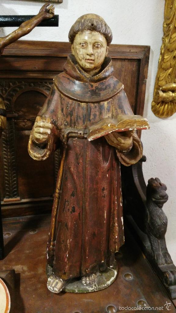 ANTIGUA TALLA EN MADERA DE SAN ANTONIO DE PADUA - SIGLO XVII. 60CM DE ALTURA. (Arte - Arte Religioso - Escultura)