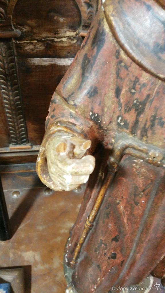 Arte: Antigua talla en madera de San Antonio de Padua - siglo XVII. 60cm de altura. - Foto 2 - 58100869