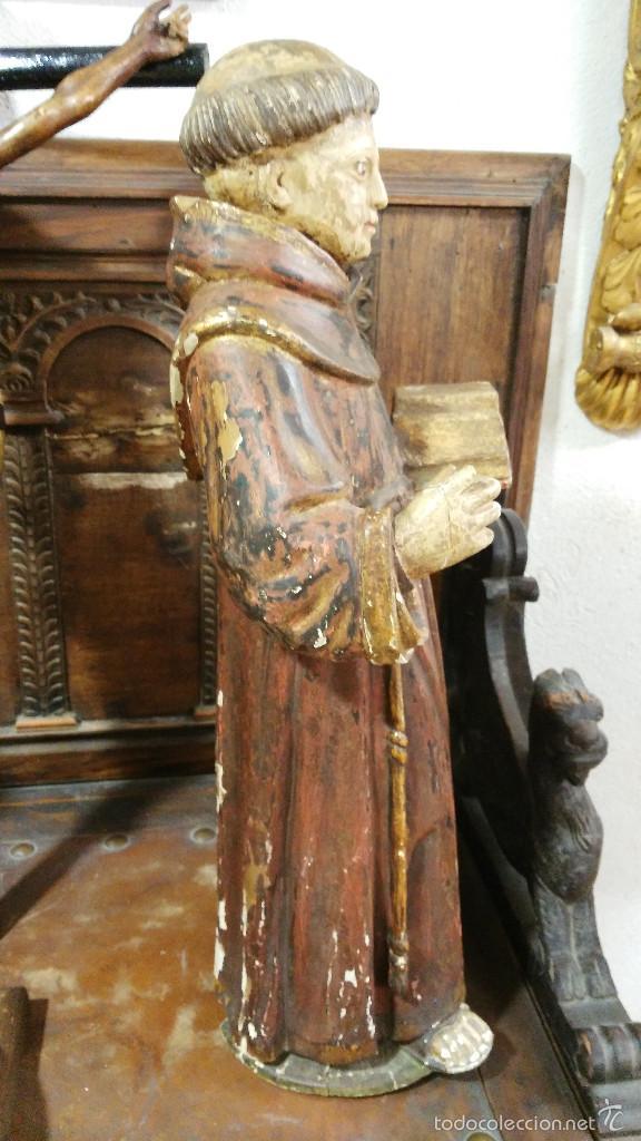 Arte: Antigua talla en madera de San Antonio de Padua - siglo XVII. 60cm de altura. - Foto 4 - 58100869