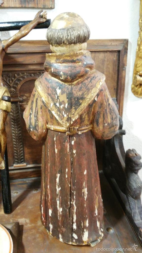 Arte: Antigua talla en madera de San Antonio de Padua - siglo XVII. 60cm de altura. - Foto 5 - 58100869