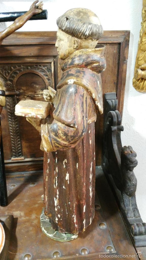 Arte: Antigua talla en madera de San Antonio de Padua - siglo XVII. 60cm de altura. - Foto 6 - 58100869