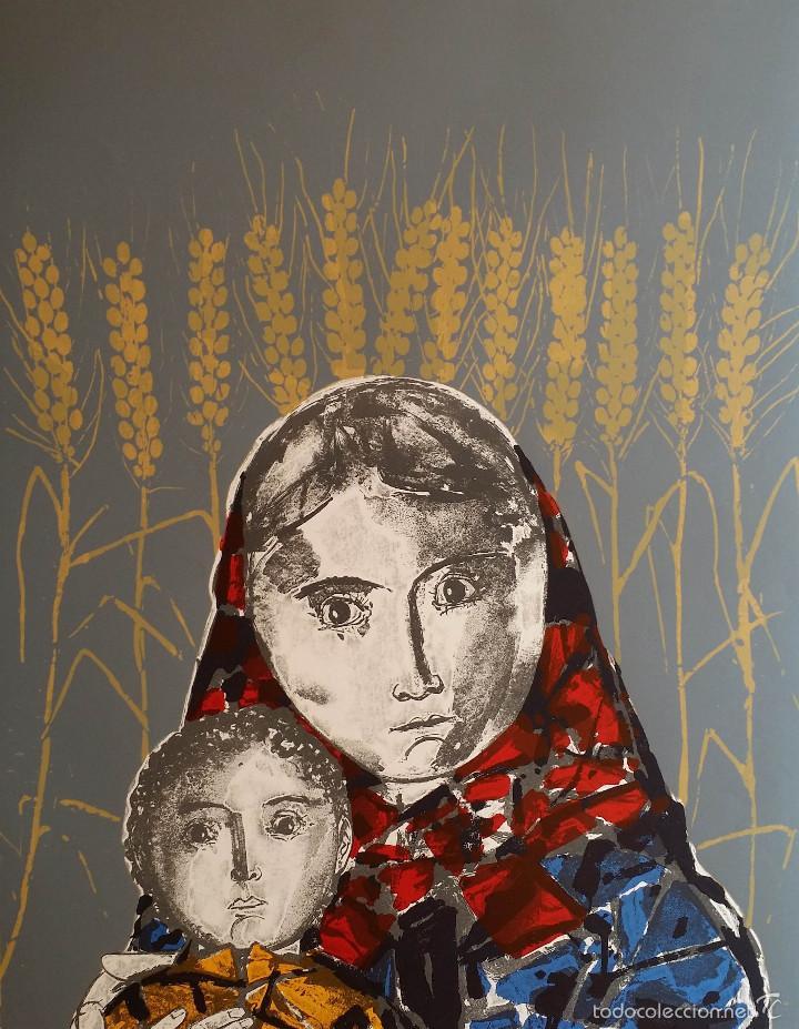 MAX HUNZIKER: VIRGEN CON NIÑO / AGUAFUERTE NUMERADO Y FIRMADO A LÁPIZ / 1958 (Arte - Arte Religioso - Grabados)
