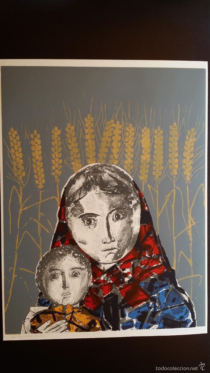 Arte: Max HUNZIKER: Virgen con niño / aguafuerte numerado y firmado a lápiz / 1958 - Foto 2 - 58107779