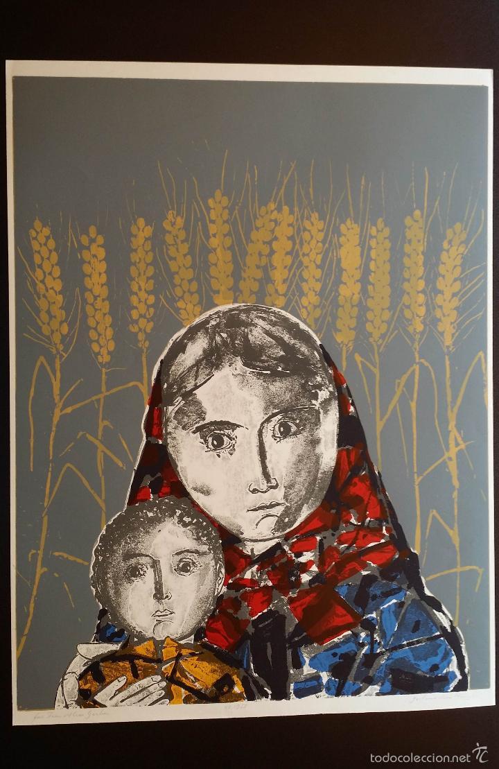 Arte: Max HUNZIKER: Virgen con niño / aguafuerte numerado y firmado a lápiz / 1958 - Foto 14 - 58107779