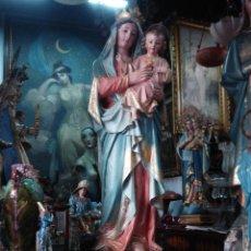Arte: EXCELENTE VIRGEN DEL SAGRADO CORAZÓN ESTUCO DE OLOT CORONAS DE LATÓN. Lote 58121998