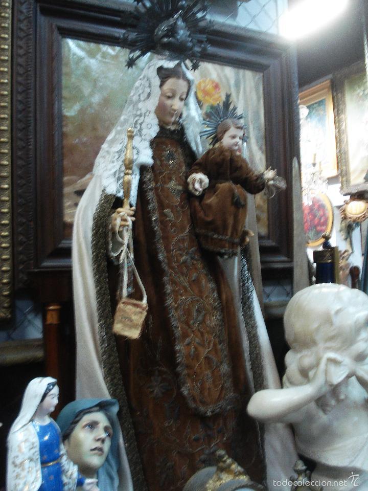 Arte: Virgen del Carmen cap i pota sXIX talla vestidera de madera - Foto 8 - 56523162