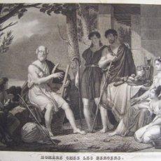 Arte: CIRCA 1810´S HOMERO EN LA CASA DE LOS PASTORES GRABADO POR CHOUBARD SOBRE OBRA DE CHASSELAT 68 CM. Lote 58132756