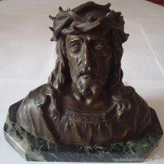 Arte: BUSTO DE JESÚS EN BRONCE SOBRE BASE DE MÁRMOL. Lote 58151155