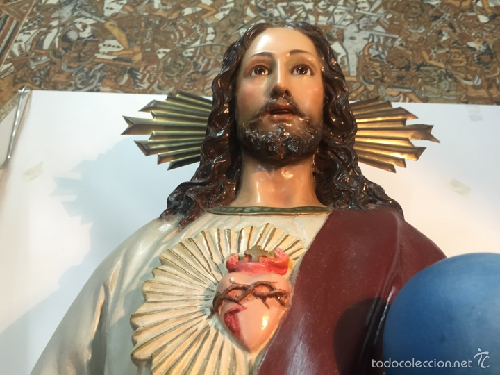 Arte: SAGRADO CORAZON DE ESTUCO. 104CM. ARTE CRISTIANO OLOT. - Foto 2 - 58183179