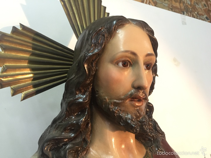 Arte: SAGRADO CORAZON DE ESTUCO. 104CM. ARTE CRISTIANO OLOT. - Foto 3 - 58183179