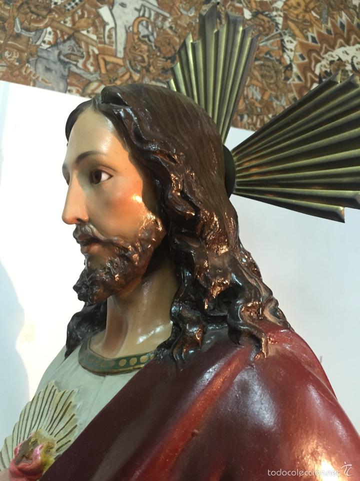 Arte: SAGRADO CORAZON DE ESTUCO. 104CM. ARTE CRISTIANO OLOT. - Foto 13 - 58183179