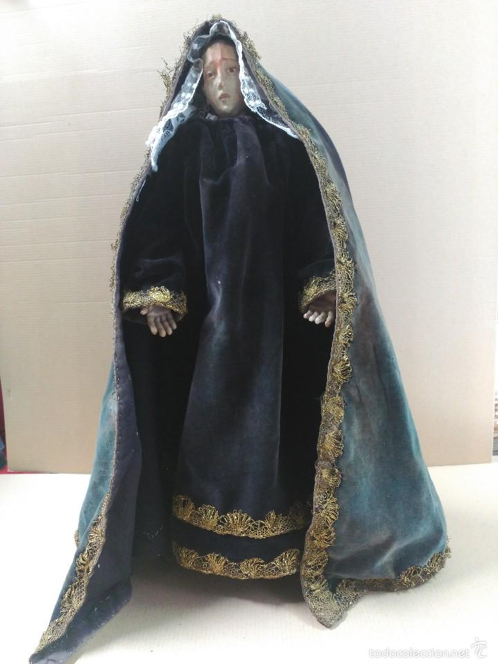 Arte: Virgen Dolorosa, vestidera talla en madera, siglo XIX, con ropa de la epoca - Foto 16 - 58203081