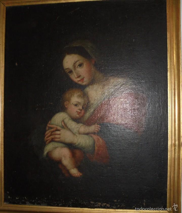LA VIRGEN Y EL NIÑO.SXVII. (Arte - Arte Religioso - Pintura Religiosa - Oleo)