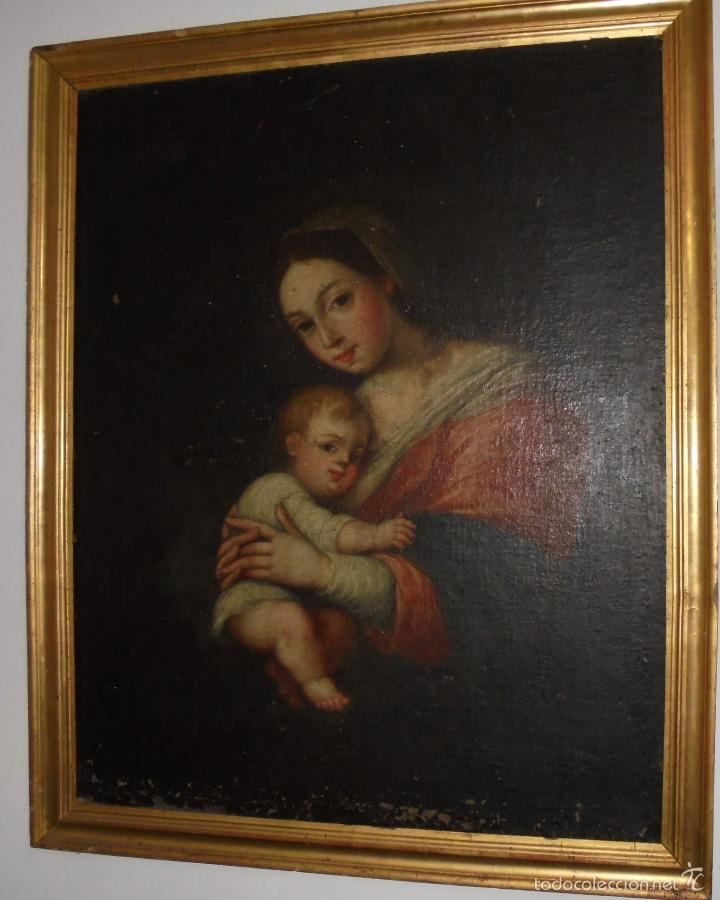 Arte: La Virgen y el niño.SXVII. - Foto 2 - 58211207