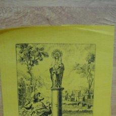 Arte: GRABADO EN SEDA , APOSTOL SANTIAGO ANTE LA VIRGEN DEL PILAR - J. G. LAPUENTE GRABADOR. Lote 58252633