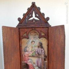 Arte: CAPILLA NEOGOTICA CON RELIEVE DE LA SAGRADA FAMILIA. SIGLO XIX. Lote 58270050