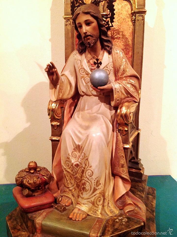 GRAN SAGRADO CORAZÓN DE JESÚS ENTRONIZADO CON SELLO ALTURA 77CM TALLA (Arte - Arte Religioso - Escultura)