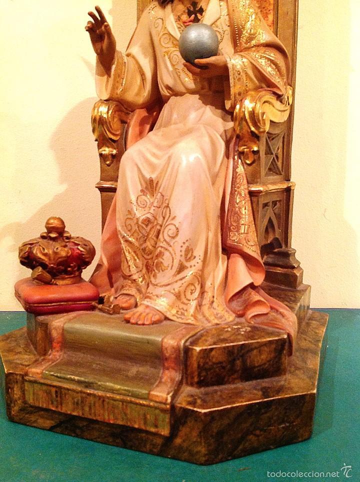 Arte: Gran Sagrado Corazón De Jesús Entronizado Con Sello Altura 77CM Talla - Foto 2 - 58327778
