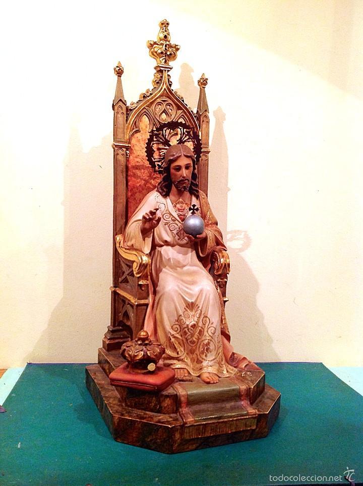Arte: Gran Sagrado Corazón De Jesús Entronizado Con Sello Altura 77CM Talla - Foto 3 - 58327778