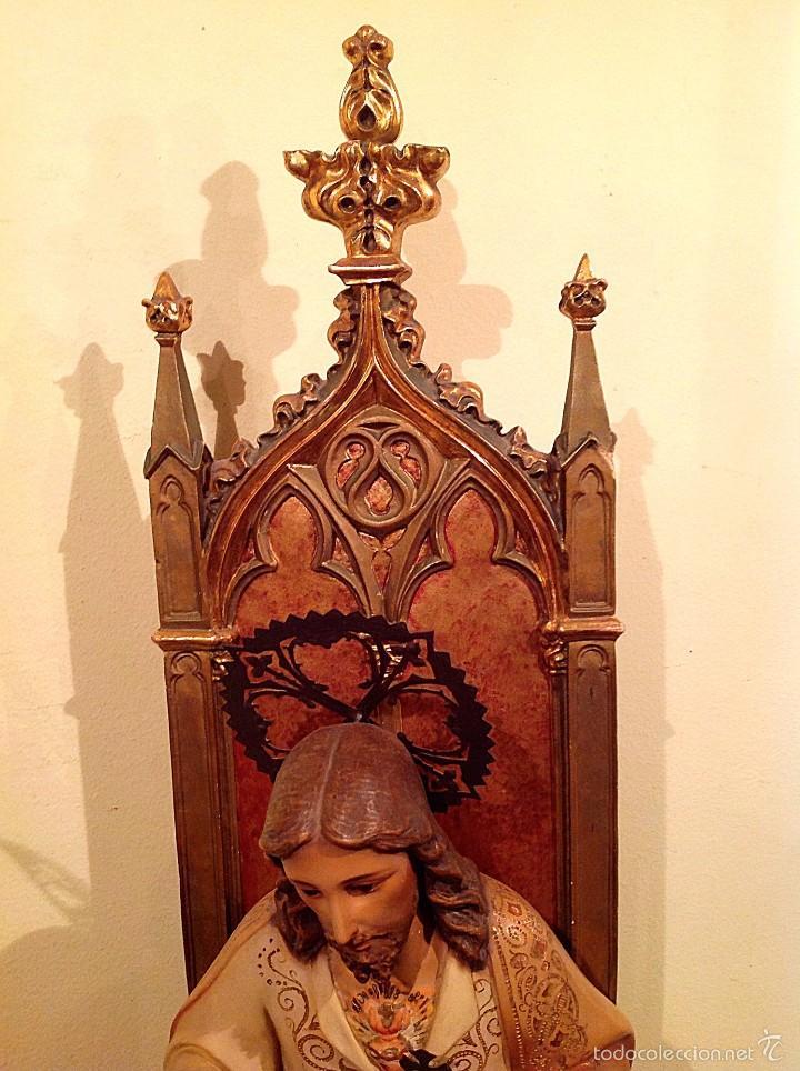 Arte: Gran Sagrado Corazón De Jesús Entronizado Con Sello Altura 77CM Talla - Foto 4 - 58327778