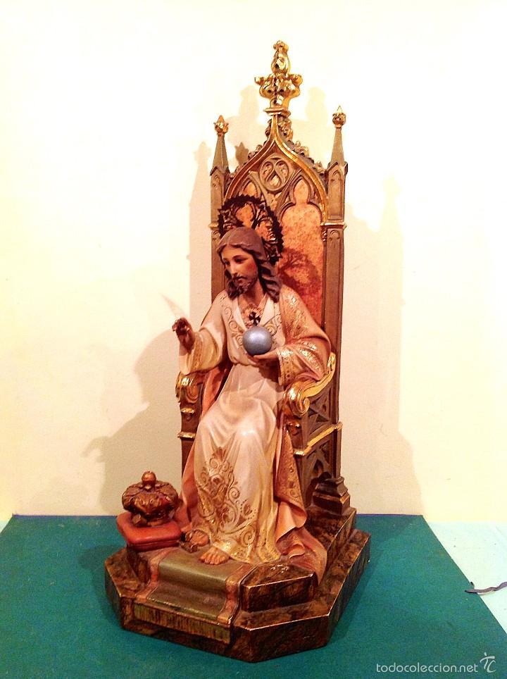 Arte: Gran Sagrado Corazón De Jesús Entronizado Con Sello Altura 77CM Talla - Foto 5 - 58327778