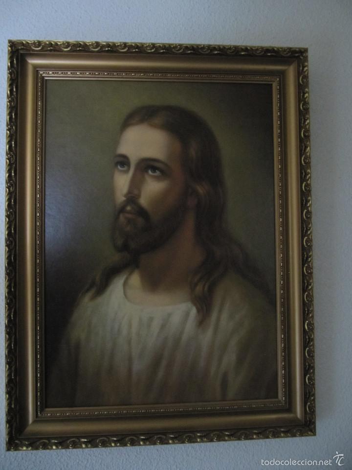 Arte: PRECIOSO CUADRO ENMARCADO DE JESÚS. JESUCRISTO. MEDIDAS: 64,5 X 46 CM. ELEGANTE MARCO DE 5 CM. - Foto 3 - 58334112