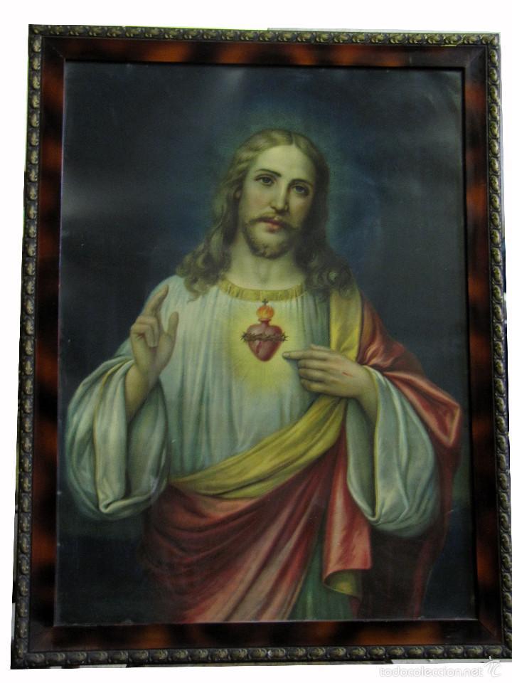 sagrado corazón de jesus. antigua litografia en - Comprar ...