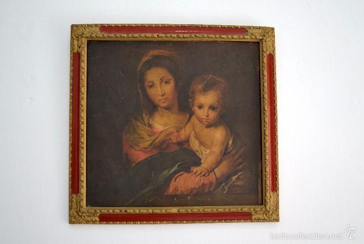 PRECIOSO CUADRO TABLET SIMULANDO ÓLEO VIRGEN DE LA SERVILLETA BARTOLOMÉ ESTEBAN MURILLO (Arte - Arte Religioso - Pintura Religiosa - Otros)