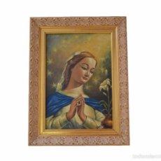 Arte: PRECIOSO CUADRO EN ÓLEO SOBRE TABLET VIRGEN INMACULADA CONCEPCIÓN FIRMADO CARRILLO . Lote 58415949