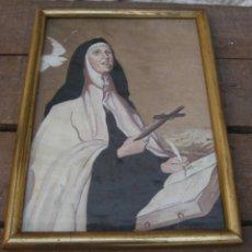 Arte: CUADRO PINTURA ANTIGUO OLEO SANTA TERESA DE JESUS SOBRE TABLEX FIRMADO AIZPURUA . Lote 58492090