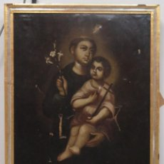 Arte: ANTIGUO Y PRECIOSO SAN ANTONIO Y NIÑO JESUS. OLEO S/ LIENZO. SIGLO XVIII. Lote 58510923