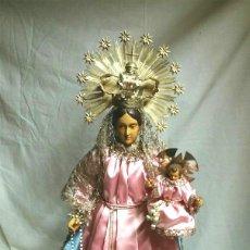 Arte: VIRGEN DEL ROSARIO S XIX CAPIPOTA TERRACOTA, VESTIDO BORDADO HILO PLATA, CON JOYAS. MED. 60 CM. Lote 58579403