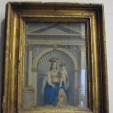Arte: VIRGEN CON NIÑO. BELLO GRABADO DEL S. XVIII COLOREADO DE EPOCA. BONITO MARCO ANTIGUO. Lote 58604959