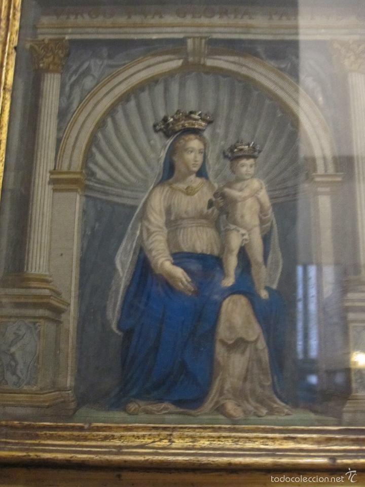 Arte: VIRGEN CON NIÑO. BELLO GRABADO DEL S. XVIII COLOREADO DE EPOCA. BONITO MARCO ANTIGUO - Foto 2 - 58604959
