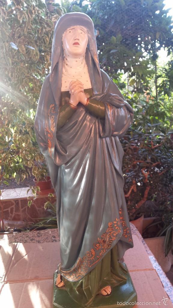 ANTIGUA IMAGEN EN TERRACOTA-ESCAYOLA Y BASE DE MADERA DE SANTA TERESA DE JESUS, PRECIOSA (Arte - Arte Religioso - Escultura)