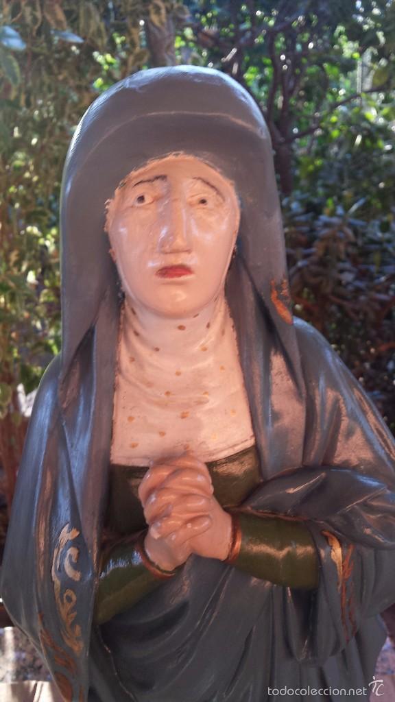 Arte: antigua imagen en terracota-escayola y base de madera de santa teresa de jesus, preciosa - Foto 2 - 58642801