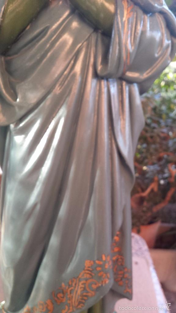 Arte: antigua imagen en terracota-escayola y base de madera de santa teresa de jesus, preciosa - Foto 4 - 58642801