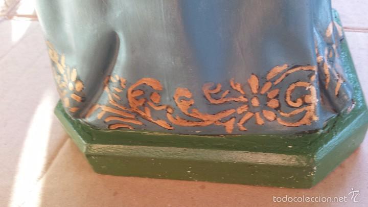 Arte: antigua imagen en terracota-escayola y base de madera de santa teresa de jesus, preciosa - Foto 9 - 58642801