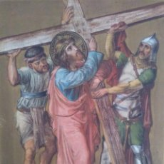 Arte: CRISTO CARGA CON SU CRUZ / ÓLEO SOBRE LIENZO / S. XIX. Lote 58644432