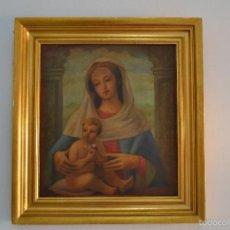Arte: PRECIOSO CUADRO AL ÓLEO EN MADERA O TABLE VIRGEN Y EL NIÑO MARCO DORADO PRINCIPIO DE SIGLO - XIX. Lote 58659616