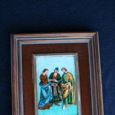 Arte: ESMALTE DE LA BODA DE SAN JOSE Y LA VIRGEN MARIA, CON PREMARCO EN PLATA. Lote 58687729