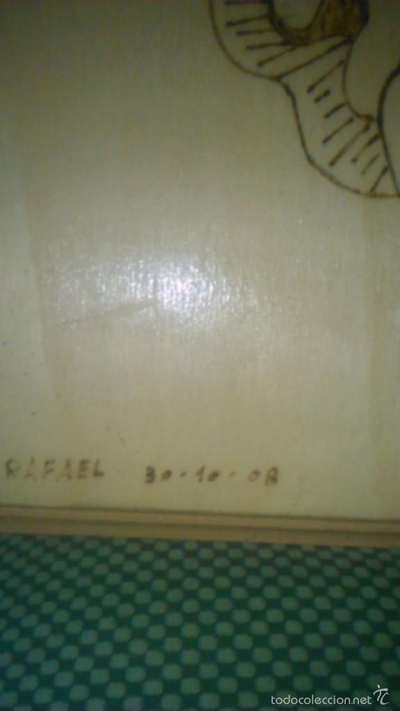 Arte: Retablo de madera con imagen de ángel gabriel grabado en la madera y pintado a mano. firmado rafael - Foto 3 - 58790641
