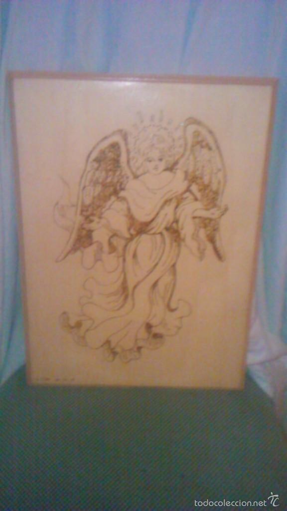 Arte: Retablo de madera con imagen de ángel gabriel grabado en la madera y pintado a mano. firmado rafael - Foto 5 - 58790641