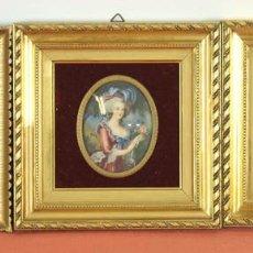 Arte: CONJUNTO DE 3 PINTURAS EN MINIATURA SOBRE CELULOIDE. ESPAÑA. CIRCA 1950.. Lote 89473826
